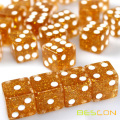 Golden Glitter 6 Sided Dice