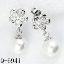 Derniers styles Boucles d'oreilles en perle 925 en argent (Q-6941)