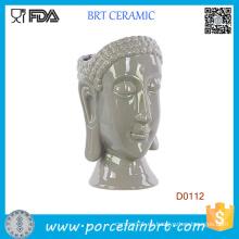 Nuevo florero de cerámica de la cabeza de Buda de las tendencias urbanas