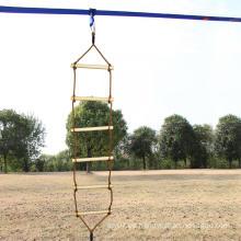 Patio al aire libre Escalera de cuerda de madera de escalada de una sola cabeza