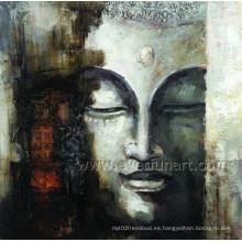 Pintura al óleo hecha a mano de Buddhas en la lona para la decoración de la pared (BU-021)