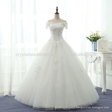 Sexy Puffy 2017 Romantic Robe De Mariage Vestido De Noiva Off the Shoulder White Lace Bridal Wedding Dresses MW973