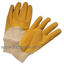 Baumwolle beschichtete Gelbe Latex Schwerer Arbeitshandschuhe