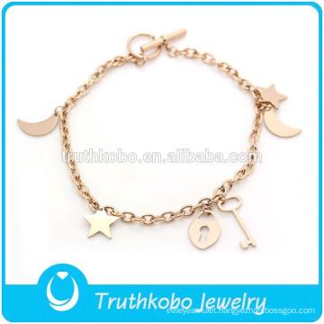 TKB-JB0015 Simple elegant stylish handmade jewelry rose gold 316L stainless steel friendship bracelets