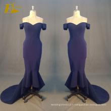 ED Bridal Hot Sale Mermaid Off Shoulder Zipper Retour Bleu marine Robes de soirée sexy 2017