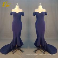 ED Bridal Hot Sale Mermaid Off Shoulder Zipper Voltar Azul-marinho Sexy Evening Dresses 2017