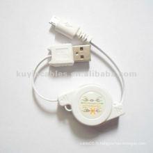 Câble de données USB 2.0 rétractable USB Micro 5p pour câble de données du chargeur HTC