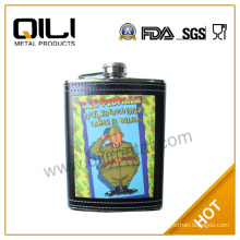all over heat-transfered logo hip flask
