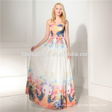 Latest design floor length evening dress printed long design wholesale evening dress for wedding and party