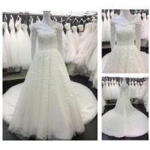 Guangzhou Factory Special Design Muslim Bride Wear Boat Neck Long Sleeves Turkish Gowns 2016 Flower Wedding Dresses A114
