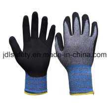 13 Gauge Nylon and Spandex Working Glove with Black Sandy Nitrile on Palm (N1613)