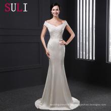 SL012 2016 fuera del hombro con mangas cortas Sheer Lace sirena vestido de novia