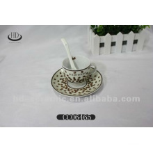 golden decals coffee cup with saucer