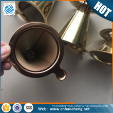 Stainless steel coffee dipper/ cone coffee dripper /pour over coffee dripper with rose golden color