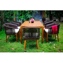 Mesa de madera de Acacia y sillón de la silla del rattan de Poly para el jardín al aire libre
