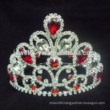Newest design fashion red rhinestone heart wholesale wedding tiara