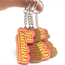 Eco-friendly Manufacturer Wholesale Embossed Letters Soft Custom Shape PVC Rubber Brand Name Keychains for Collections