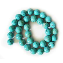 Perles rondes turquoise 12 mm