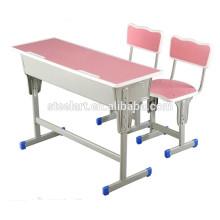 Luoyang steelart school furniture Doppelschülertisch rosa Holzschüler Schreibtischstuhl