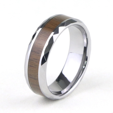 Tungsten Carbide Wedding Band Ring Dengan Inlay Kayu