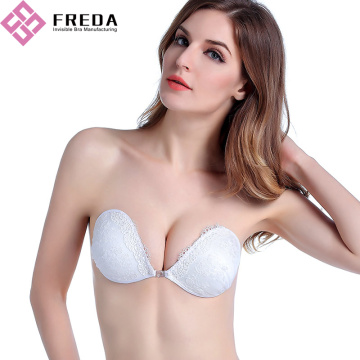 Trắng Lace Backless Push Up Bra