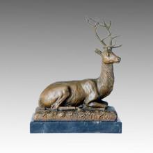 Tier Bronze Skulptur Hirsch Carving Deco Messing Statue Tpal-111