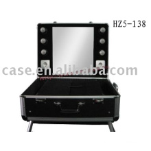 2015 Hot Sell New Style Beauty studio Rolling Makeup Case with lights
