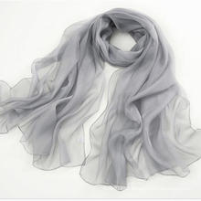 Produtos promocionais Lenço de seda pura Lenço Longo Shawl Grey