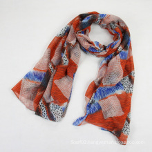 Ms Multicolor Polyester Voile Geometry Scarf Shawl