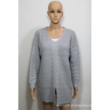 Senhora moda acrílico tricotado camisola no design de torção (yky2003)
