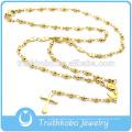 Moda joyería religiosa para el corazón de acero inoxidable perlas rosario religioso collar con encanto de María para los resultados de la joyería de oro