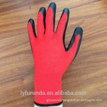 13 gauge nylon gloves coated with latex on palm,wrinkle finish