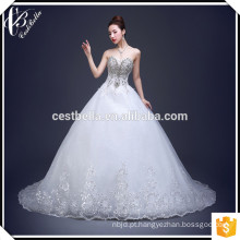 Vestido de noiva de alta qualidade em tons de damas de cristal de damasco Alibaba Vestido de noiva com contas pesadas 2017