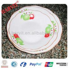 Linyi Cheap Porcelain Cut Edge White Round Plates Plaques Avec Trois Fleurs Pattern & Silver Rim