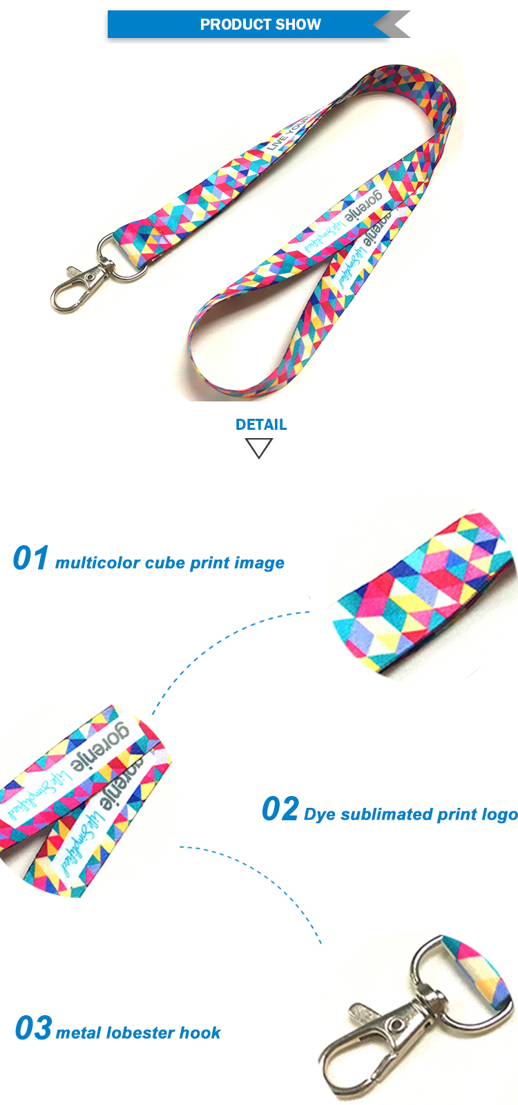 Make one single multi-color printed polyester custom lanyard