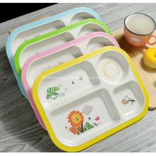 Placa de prato de crianças de plástico de fibra de bambu