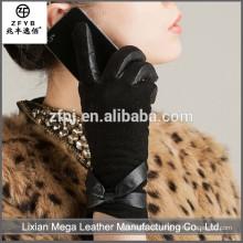 Guantes de cuero de la guarnición de la piel del precio bajo de la manera del diseño nuevo