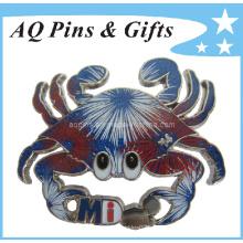 Fireworks Crabs Custom Glitter Pin insignia con epóxido (badge-011)