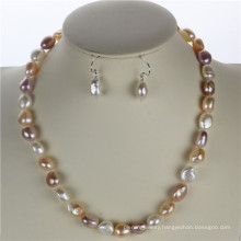 Snh 10mm AAA Mixed Color Natural Real Pearl Jewelry Set