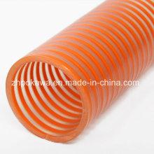 Гладкий всасывающий шланг ПВХ с оранжевой спиралью