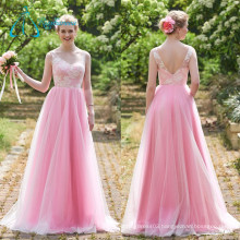 Tulle Satin Lace Pink Modern Bridesmaid Dresses Long