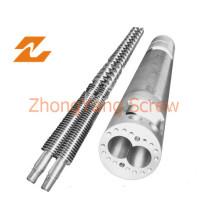 Duplo parafuso cônico barril dupla rosca tubo de PVC de cano