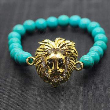 Turquoise 8MM Round Beads Stretch Gemstone Bracelet with Diamante alloy Lion Head Piece