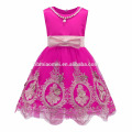 2017 New Fashion Cheap Pure Color Embroidered Tulle 8 Years Girl Dress Design