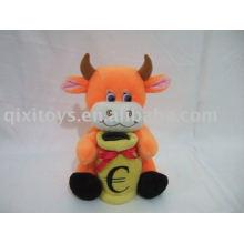 Salvación de peluche adorable ahorro de dinero de vaca, juguete de banco de moneda animal suave