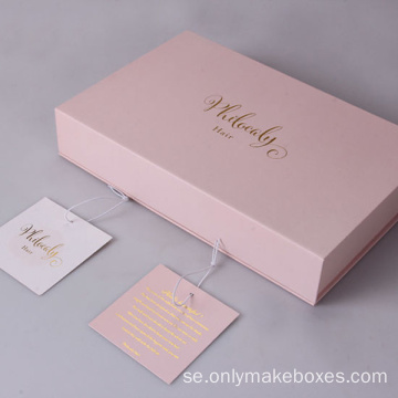 High-End Packaging Paper Hair Extension Box med tagg