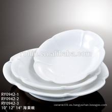 Profesional de porcelana al por mayor de diseño moderno de restaurante cuadrado placa de porcelana cuadrada