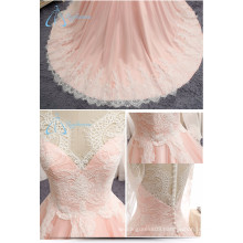A-line China Supplier Lace Illusion Bodice Wedding Dress Sale