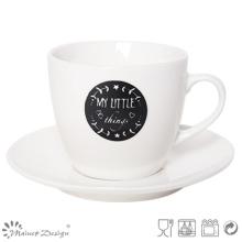 Tasse et soucoupe à thé noir et blanc New Bone China