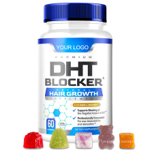 Premium DHT Blcoker Hair Growth Gummies with Saw Palmetto Zinc Iron and Green Tea Extract to Stop Hair Loss for Private Label